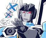 1boy aircraft airplane autobot clenched_teeth cockpit decepticon english_text fighter_jet jet military military_vehicle outstretched_hand rariatto_(ganguri) red_eyes speech_bubble teeth the_transformers_(idw) thrusters thundercracker transformers turbine unamused white_background