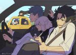 2girls 4boys :d ^_^ asaya_minoru black_hair black_jacket black_neckwear black_pants black_scarf car car_interior cellphone closed_eyes collared_shirt dango day dress_shirt driving fate/grand_order fate_(series) food grey_hair ground_vehicle hair_over_one_eye hat hijikata_toshizou_(fate) jacket koha-ace long_hair long_sleeves map motor_vehicle multiple_boys multiple_girls necktie okada_izou_(fate) okita_souji_(fate) okita_souji_(fate)_(all) open_mouth oryou_(fate) pants phone red_eyes saitou_hajime_(fate) sakamoto_ryouma_(fate) sanshoku_dango scarf shirt smile twitter_username very_long_hair wagashi white_headwear white_jacket white_shirt