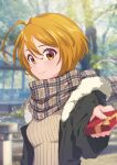 1girl absurdres ahoge bangs blonde_hair blurry blurry_background blurry_foreground blush box brown_eyes closed_mouth coat eriko eyebrows_visible_through_hair fur-trimmed_hood fur_trim gift gift_box hair_between_eyes highres holding holding_box hood hood_down hooded_coat hugtto!_precure kagayaki_homare open_clothes open_coat plaid plaid_scarf precure ribbed_sweater scarf shiny shiny_hair short_hair smile solo sweater upper_body valentine winter_clothes winter_coat