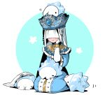 1girl :> blue_headwear blush capelet crossover crown dress gen_8_pokemon gloves hand_on_own_cheek hand_on_own_face identity_v jewelry long_sleeves necklace on_head pokemon pokemon_(creature) simple_background sitting smile snom sophia_(identity_v) sparkle tsumumi_(kandume103) two-tone_background veil veil_over_eyes white_gloves