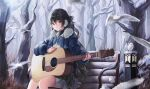 1girl absurdres acoustic_guitar bangs bare_tree bench bird black_hair black_skirt blue_bow blue_coat blue_neckwear bow bowtie coat commentary day earmuffs english_commentary eyebrows_visible_through_hair feet_out_of_frame fur-trimmed_coat fur_trim guitar hair_rings highres huge_filesize instrument lantern long_hair long_sleeves looking_at_viewer miniskirt music nagul on_bench open_clothes open_coat orange_eyes original outdoors parted_lips playing_instrument pleated_skirt sitting skirt solo tree very_long_hair winter winter_clothes winter_coat