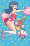 1girl :d absurdres arched_back ass bangs bare_arms blue_background blue_eyes blue_hair body_blush buneary cheerleader clothed_pokemon commentary_request confetti dawn_(pokemon) eyelashes floating_hair gen_4_pokemon hair_ornament hairclip highres holding holding_pom_poms kneehighs knees_together long_hair looking_at_viewer open_mouth outstretched_arms panties pink_footwear pink_skirt piplup pokemoa pokemon pokemon_(anime) pokemon_(creature) pokemon_dppt_(anime) pom_poms shiny shiny_skin shirt shoes skirt sleeveless sleeveless_shirt smile sneakers starter_pokemon tongue underwear white_legwear