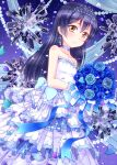 1girl birthday blue_hair dress eyebrows_visible_through_hair flower happy_birthday highres hiro9779 long_hair looking_at_viewer love_live! rose solo sonoda_umi wedding yellow_eyes