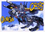 aircraft airplane clouds crossover diabattles diaclone fighter_jet flying gattai gridman_(ssss) highres jet looking_ahead mecha military military_vehicle moyan no_humans open_hands procreate_(medium) science_fiction sky solo ssss.gridman