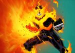 1boy beard blue_bodysuit blue_eyes bodysuit boku_no_hero_academia bulge covered_abs facial_hair feet_out_of_frame fiery_hair fighting_stance fire flaming_hand highres large_pectorals legs_apart looking_at_viewer male_focus mature_male muscular muscular_male no_pupils redhead scar scar_across_eye short_hair sideburns solo spidermanfan2099 spiky_hair stubble thighs todoroki_enji wallpaper western