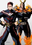 2boys all_might armor beard blue_eyes boku_no_hero_academia bulge clonion cosplay costume_switch covered_abs crossed_arms facial_hair feet_out_of_frame fire glowing glowing_eye grin highres male_focus mature_male multiple_boys muscular muscular_male pauldrons pectorals personality_switch redhead short_hair shoulder_armor sideburns smile spiky_hair stubble thick_thighs thighs todoroki_enji
