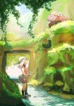1girl bike_shorts black_legwear camerupt collared_dress commentary_request day dress fanny_pack gen_3_pokemon gloves grass green_bag green_bandana holding long_hair looking_up may_(pokemon) orange_dress outdoors pokemon pokemon_(creature) pokemon_(game) pokemon_emerald pokemon_rse shoes short_dress socks standing starter_pokemon terrible_burst treecko water