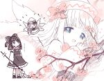 2girls :d ^^^ ^_^ ^o^ arms_at_sides arms_up bangs biyon blue_eyes blunt_bangs blurry blush_stickers bow bowtie cherry_blossoms close-up closed_eyes crosshatching depth_of_field detached_sleeves dot_mouth expressionless face fairy fairy_wings flower flying frills from_side gohei hair_bow hair_tubes hakurei_reimu half-closed_eyes half_updo hands_together hands_up happy hat hat_bow hatching_(texture) holding jitome lily_white long_hair long_sleeves looking_at_another looking_at_viewer looking_to_the_side looking_up minigirl monochrome motion_lines multiple_girls multiple_views no_nose open_hands open_mouth own_hands_together petticoat shoes size_difference skirt skirt_set smile spot_color standing tareme touhou translation_request tree_branch twitter_username wide_sleeves wings |d
