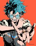 1boy \n/ alternate_costume aqua_eyes aqua_hair artist_name bespectacled blue-tinted_eyewear boku_no_hero_academia buttons clonion clothes_writing commentary ear_piercing earrings english_commentary freckles furrowed_eyebrows glasses grey_shirt high_contrast highres jersey jewelry male_focus midoriya_izuku open_mouth orange_background outstretched_arm piercing ring shirt short_hair short_sleeves simple_background solo star_(symbol) star_earrings striped striped_shirt symbol_commentary teeth tinted_eyewear upper_body vertical-striped_shirt vertical_stripes