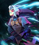 1boy armor bettykwong clenched_teeth facial_tattoo fangs fierce_deity fingerless_gloves gloves link looking_up pointy_ears sidelocks sword tattoo teeth the_legend_of_zelda the_legend_of_zelda:_majora's_mask tunic watermark weapon white_eyes white_hair