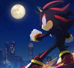 1boy animal_nose city clenched_hands closed_mouth from_side full_moon furry gloves male_focus moon msg01 night night_sky rail_silding red_eyes serious shadow_the_hedgehog sky solo sonic_(series) sonic_adventure_2 sparks star_(sky) starry_sky urban white_gloves