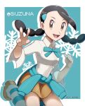 1girl artist_name black_hair border breasts brown_eyes brown_footwear brown_skirt candice_(pokemon) character_name clothes_around_waist commentary_request green_background gym_leader hair_ornament hairclip jeri20 long_hair multi-tied_hair open_mouth outside_border pokemon pokemon_(game) pokemon_dppt shirt shoes skirt smile snowflakes socks solo striped striped_legwear sweater sweater_around_waist twintails white_border white_shirt