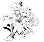 3girls absurdres aoi_sakurako bangs blush book butterfly_hair_ornament closed_mouth collared_shirt dress eyebrows_visible_through_hair greyscale hair_ornament highres holding holding_clothes holding_footwear holding_shoes long_hair long_sleeves looking_at_viewer monochrome multiple_girls necktie no_shoes open_mouth original pleated_skirt ponytail puffy_long_sleeves puffy_short_sleeves puffy_sleeves shirt shoes short_sleeves simple_background skirt sleeveless sleeveless_dress smile socks very_long_hair wavy_mouth white_background