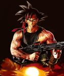 1boy bardock black_eyes black_hair black_shirt brown_background closed_mouth dragon_ball dragon_ball_z finger_on_trigger gun headband highres holding holding_gun holding_weapon john_rambo looking_at_viewer machine_gun male_focus rambo shirt short_hair simple_background solo spiky_hair sunrise taka_(takahirokun) torn_clothes torn_shirt upper_body veiny_hands weapon