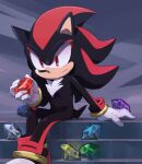 1boy arm_support chaos_emerald closed_mouth furry gem gloves holding holding_gemstone jewelry male_focus msg01 red_eyes ring shadow_the_hedgehog sitting solo sonic_(series) white_gloves