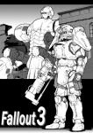 ambiguous_gender arm_armor armor armored_boots boots building commentary_request copyright_name energy_gun energy_weapon fallout_(series) fallout_3 full_armor full_body greyscale gun helmet holding holding_gun holding_weapon knee_pads laser_rifle liberty_prime mecha monochrome outdoors power_armor rifle shoulder_armor standing takimoyo_(soushokujuu) weapon window