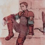 1boy armor boots brick brick_wall brown_footwear brown_hair character_request crossbow film_grain final_fantasy final_fantasy_tactics grass male_focus pauldrons red_eyes red_theme shoulder_armor sitting solo traditional_media turtleneck vambraces watercolor_(medium) weapon windcaller