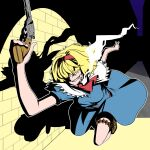 1girl absurdres alice_margatroid alley ammunition_belt ascot asha bangs blonde_hair blue_dress boots breasts brick_wall brown_footwear bullet capelet cigarette commentary_request cookie_(touhou) dress foreshortening frilled_capelet frills full_body grin gun hair_over_eyes hairband handgun highres holding holding_gun holding_weapon jigen_(cookie) lupin_iii medium_breasts night outdoors parody red_hairband red_neckwear revolver running short_hair short_sleeves smile smoking solo spotlight touhou weapon white_capelet