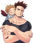2boys :t black_shirt blonde_hair blue_eyes blue_shirt boku_no_hero_academia cheek-to-cheek child closed_eyes closed_mouth collarbone commentary_request crossed_arms facial_hair facial_mark feathered_wings feathers fingernails hawks_(boku_no_hero_academia) looking_at_another looking_to_the_side male_focus mature mature_male miso_(mimimiso) motion_lines multiple_boys muscular muscular_male nuzzle on_shoulder pectorals red_feathers red_wings redhead scar scar_across_eye scar_on_face shedding shirt short_hair sideways_glance simple_background spiky_hair stubble sweatdrop t-shirt todoroki_enji upper_body white_background wings younger