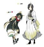 1boy 1girl aoi_sakurako black_hair black_legwear braid brown_eyes brown_hair brown_legwear closed_mouth color_guide green_eyes hair_over_one_eye hair_over_shoulder highres horns long_hair long_sleeves looking_at_viewer multicolored_hair no_shoes original pleated_skirt shoes shorts simple_background single_braid single_horn skirt sleeves_past_wrists smile socks standing stirrup_legwear streaked_hair toeless_legwear white_background white_footwear white_shorts white_skirt wide_sleeves