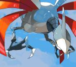 absurdres closed_mouth commentary_request day from_below gen_2_pokemon highres no_humans outdoors pokemon pokemon_(creature) shiny skarmory sky solo talons yuyu_ekaki_dayo