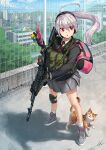 1girl adidas ahoge ak-74m animal assault_rifle bag blazer building cat cellphone cellphone_charm chain-link_fence church city day duffel_bag eotech fence gloves gun hand_up headset jacket knee_pads kws light_brown_hair long_hair looking_to_the_side military muzzle_brake necktie original parted_lips phone pleated_skirt ponytail red_eyes red_neckwear rifle rooftop school_uniform shadow shoes signature silver_hair skirt sky sling sneakers solo tree trinkets weapon wind