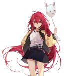1girl balloon bangs black_jacket black_skirt character_request closed_mouth elsword eyebrows_behind_hair hair_between_eyes holding holding_balloon jacket long_hair long_sleeves looking_at_viewer machi_(7769) open_clothes open_jacket pleated_skirt puffy_long_sleeves puffy_sleeves red_eyes redhead shirt simple_background skirt smile solo very_long_hair white_background white_shirt