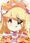 1girl absurdres backlighting bangs blonde_hair blurry coin commentary_request eyepatch futaba_anzu hat highres idolmaster idolmaster_cinderella_girls long_hair profile red_eyes sleepfool solo sparkle tongue tongue_out translation_request