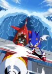 2boys aircraft airplane banel_springer blue_hair clouds ears ears_through_headwear flying gloves goggles highres multiple_boys ocean propeller shoes sky sonic_(series) sonic_the_hedgehog spiky_hair tagme tail tails_(sonic) water