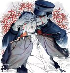 bandage_over_one_eye bandages black_eyes black_hair black_jacket blood blood_on_face closed_mouth collared_jacket covered_eyes facial_hair flower goatee golden_kamuy hanazawa_yusaku hand_on_another's_face hat imperial_japanese_army jacket jyun_xix looking_at_another military military_hat military_uniform ogata_hyakunosuke open_mouth red_flower scar scar_on_cheek scar_on_face shirt short_hair smile uniform upper_body white_background white_shirt