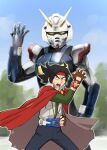 armor belt black_hair cape domon_kasshu fingerless_gloves g_gundam gloves gundam headband helmet henshin highres kamen_rider male_focus mask open_mouth shining_gundam ueyama_michirou