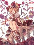 1girl :d adapted_costume arm_support bangs blonde_hair bobby_socks bone bow bowtie commentary_request cross-laced_clothes crystal dress dutch_angle embellished_costume eyebrows_visible_through_hair falling_petals flandre_scarlet flat_chest floral_background flower from_below full_body hair_bow hat light_blush looking_at_viewer mary_janes memeo_(user_cxsu7473) mob_cap one_side_up open_mouth orange_bow orange_neckwear outstretched_arm petals petticoat pink_flower pink_rose puffy_short_sleeves puffy_sleeves red_bow red_dress red_eyes red_footwear red_neckwear red_ribbon ribbon rose shoes short_hair short_sleeves simple_background sitting skull smile socks solo table touhou two-tone_bow v-shaped_eyebrows white_background white_legwear wings