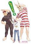 3boys all_might antenna_hair black_male_swimwear blonde_hair blue_eyes boku_no_hero_academia bulge child covered_abs father_and_son fiery_hair full_body grin highres large_pectorals male_focus male_swimwear mature_male multiple_boys muscular muscular_male omega_2-d red_male_swimwear redhead scar scar_across_eye short_hair sideburns skin_tight smile spiky_hair stretch swimsuit swimwear taut_clothes taut_swimsuit thick_thighs thighs todoroki_enji todoroki_shouto white_male_swimwear