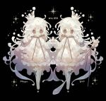 2girls black_background braid checkered crown dress frilled_dress frilled_sleeves frills gen_8_pokemon grey_eyes hibi89 long_hair long_sleeves milcery multiple_girls personification pokemon puffy_long_sleeves puffy_sleeves quilted_clothes ribbon siblings spoon star_(symbol) symmetrical_pose symmetry thigh-highs twins very_long_hair white_dress white_legwear