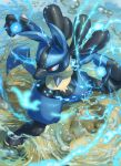 blurry blurry_foreground body_fur digitigrade energy fighting_stance from_above furrowed_eyebrows gen_4_pokemon highres legs_apart looking_to_the_side lucario no_humans paws pokemon pokemon_(creature) red_eyes ripples shiny snout solo spareribs spikes standing wading water water_drop yellow_fur