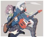 1boy 1girl :d bangs black_eyes black_footwear black_legwear black_ribbon blazer blue_jacket bow bowtie electric_guitar grey_background grey_eyes grey_hair guitar hair_intakes hair_ribbon highres holding holding_instrument hood hood_up instrument iori_heartfield jacket leg_up loafers long_hair long_sleeves looking_at_viewer na_ta53 necktie open_mouth pants pink_hair plaid plaid_pants plaid_skirt pleated_skirt plectrum project_cold ribbon sakuma_hikari school_uniform shirt shoes simple_background skirt smile striped striped_bow thigh-highs white_shirt zettai_ryouiki