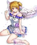 1girl angel_wings bangs barefoot breasts closed_mouth eyebrows_visible_through_hair fingernails flower green_nails hair_flower hair_ornament highres koizumi_hanayo looking_at_viewer love_live! love_live!_school_idol_project medium_breasts nail_polish nakano_maru short_hair side_ponytail simple_background sitting skirt smile solo violet_eyes white_background white_skirt wings x_hair_ornament