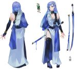 1girl absurdres asymmetrical_gloves asymmetrical_sleeves bangs bare_shoulders blue_eyes blue_hair breasts bridal_gauntlets character_name character_request character_sheet chinese_clothes detached_sleeves dress full_body fur_trim gloves hair_ornament highres jewelry katana long_hair looking_at_viewer medium_breasts multiple_views official_art shipotianjing simple_background standing sword thigh-highs vardan weapon white_background white_dress