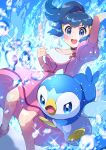 1girl :d absurdres arm_up bangs blue_eyes blush choker clenched_hand collarbone commentary dawn_(pokemon) dress gen_4_pokemon hair_tie hand_up highres knees open_mouth piplup pokemon pokemon_(anime) pokemon_(creature) pokemon_dppt_(anime) pon_yui purple_dress shoes short_sleeves smile sparkle starter_pokemon teeth tied_hair tongue water_drop