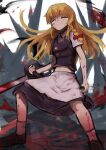 1girl apron bangs black_footwear black_shirt black_skirt blood blood_on_face bloody_clothes bloody_weapon bow braid chainsaw closed_eyes closed_mouth commentary_request cookie_(touhou) eyebrows_visible_through_hair full_body hair_bow highres holding holding_chainsaw holding_knife kirisame_marisa knife long_hair looking_at_viewer mi_zu_to_ra red_bow shirt shoes side_braid single_braid skirt sleeveless sleeveless_shirt smile socks solo standing star_(symbol) suzu_(cookie) touhou waist_apron weapon white_apron white_legwear white_shirt