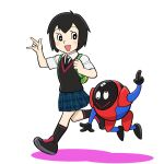 1girl \m/ backpack bag black_hair black_legwear blush breasts highres necktie open_mouth parody peni_parker pleated_skirt school_uniform shirt shoes short_hair short_sleeves skirt smile socks spider-man:_into_the_spider-verse spider-man_(series) style_parody sweater_vest ueyama_michirou white_shirt