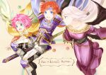 1boy 2girls :d armor back-to-back bare_shoulders blue_armor blue_cape blue_eyes blue_gloves blue_headband cape character_name cloak collarbone commentary_request dress facial_mark fae_(fire_emblem) fingerless_gloves fire_emblem fire_emblem:_the_binding_blade forehead_mark gloves green_eyes headband idunn_(fire_emblem) looking_at_another looking_at_viewer looking_back multiple_girls off-shoulder_dress off_shoulder open_mouth pauldrons pink_hair pointy_ears purple_dress redhead roy_(fire_emblem) shoochiku_bai shoulder_armor sidelocks silver_hair smile sword weapon wings
