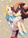 1boy 1girl :d animal_nose blonde_hair blue_dress blue_eyes blue_footwear blue_hairband blush carrying dress gloves hairband highres long_hair maria_robotnik msg01 open_mouth princess_carry red_eyes shadow_the_hedgehog smile sonic_(series) white_gloves