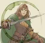 1girl beige_background belt brown_hair character_request cloak film_grain final_fantasy final_fantasy_tactics gloves green_cloak green_eyes holding holding_weapon long_hair open_mouth scabbard sheath sheathed simple_background solo sword teeth traditional_media turtleneck upper_teeth watercolor_(medium) weapon windcaller