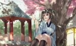 1girl absurdres animal bangs bird black_hair black_legwear blue_kimono blunt_bangs character_request cherry_blossoms day hair_ribbon highres holding holding_animal holding_bird huge_filesize japanese_clothes kimono kneehighs long_hair long_sleeves moonlight_blade outdoors parted_lips petals red_eyes ribbon scenery sheath sheathed sitting smile solo sword tree twintails vardan weapon