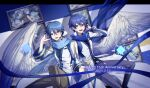 2boys anniversary artist_self-reference belt black_shirt blue_eyes blue_hair blue_pants blue_scarf boots brown_pants character_name coat commentary dated dual_persona feathered_wings hand_on_headphones hand_up headphones headset highres kaito kaito_(vocaloid3) knee_boots looking_at_viewer male_focus multiple_boys pants scarf screen shirt twitter_username vocaloid white_coat wings ziling