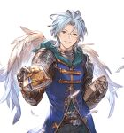 1boy altair_(granblue_fantasy) belt blue_hair blue_shirt cookie feathers food gauntlets gift glasses granblue_fantasy incoming_gift male_focus minaba_hideo official_art parted_lips pov shirt smile solo transparent_background white_day wings yellow_eyes