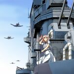1girl aircraft airplane anchor bell belt blue_eyes blue_sky breast_pocket breasts brown_hair cannon dress f4u_corsair hair_between_eyes hair_ornament hand_on_own_head highres kantai_collection large_breasts lifeboat pocket ponytail railing remodel_(kantai_collection) saratoga_(kancolle) side_ponytail sidelocks sky smokestack solo tasoku_hokou_heiki turret uss_saratoga_(cv-3) white_dress