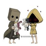 2others alternate_color bag barefoot blush box brown_coat brown_pants cardboard_box coat criis-chan danganronpa_(series) danganronpa_2:_goodbye_despair diaper ear_bow english_commentary hat heart holding jacket little_nightmares little_nightmares_ii mono_(little_nightmares) monokuma monomi_(danganronpa) multiple_others pants paper_bag raincoat simple_background six_(little_nightmares) stuffed_animal stuffed_bunny stuffed_toy teddy_bear twitter_username white_background