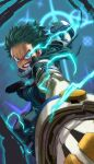 1boy action belt blue_background bodysuit boku_no_hero_academia clenched_teeth commentary_request elbow_gloves freckles glaring gloves green_bodysuit green_eyes green_hair highres hood hood_down male_focus midoriya_izuku red_footwear solo spiky_hair star_(symbol) teeth white_gloves yomoyama_yotabanashi